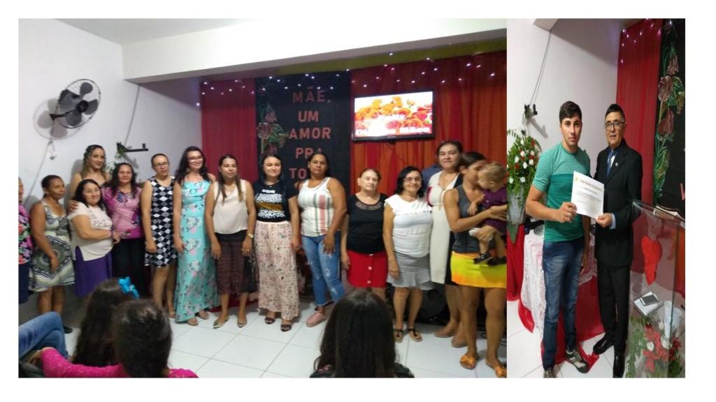 Comemoração dia das mães e entrega de certificado de batismo a Leandro